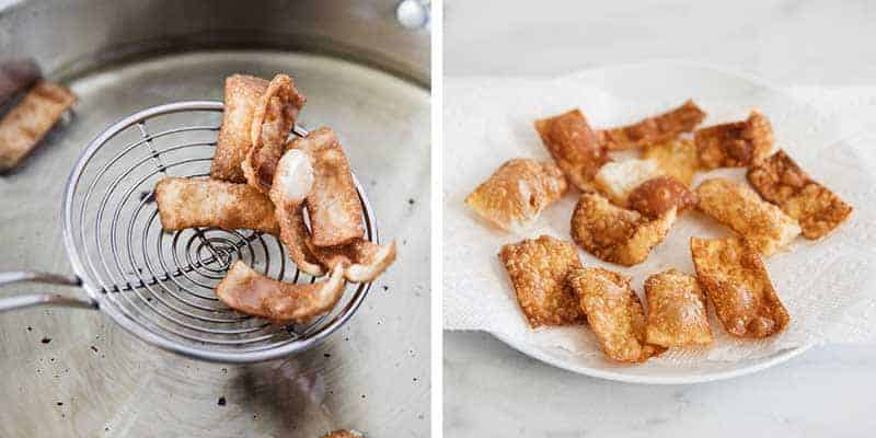 making fried wonton strips