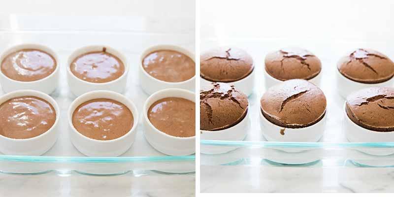 chocolate souffle ramekins in a baking dish