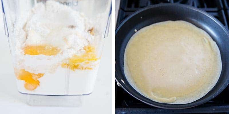 mixing up crepes in blender and cooking on pan