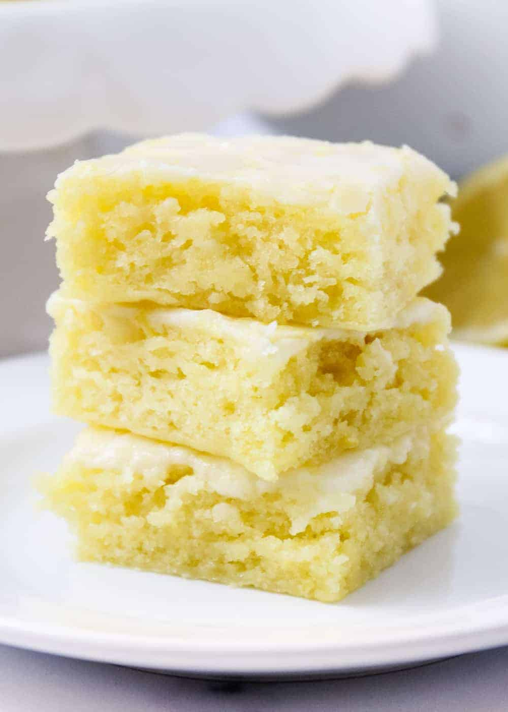 stack of lemon blondies