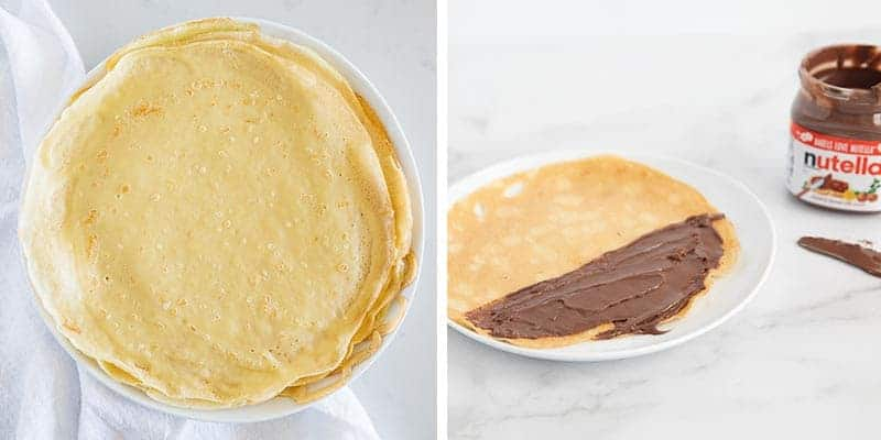 spreading nutella on crepes