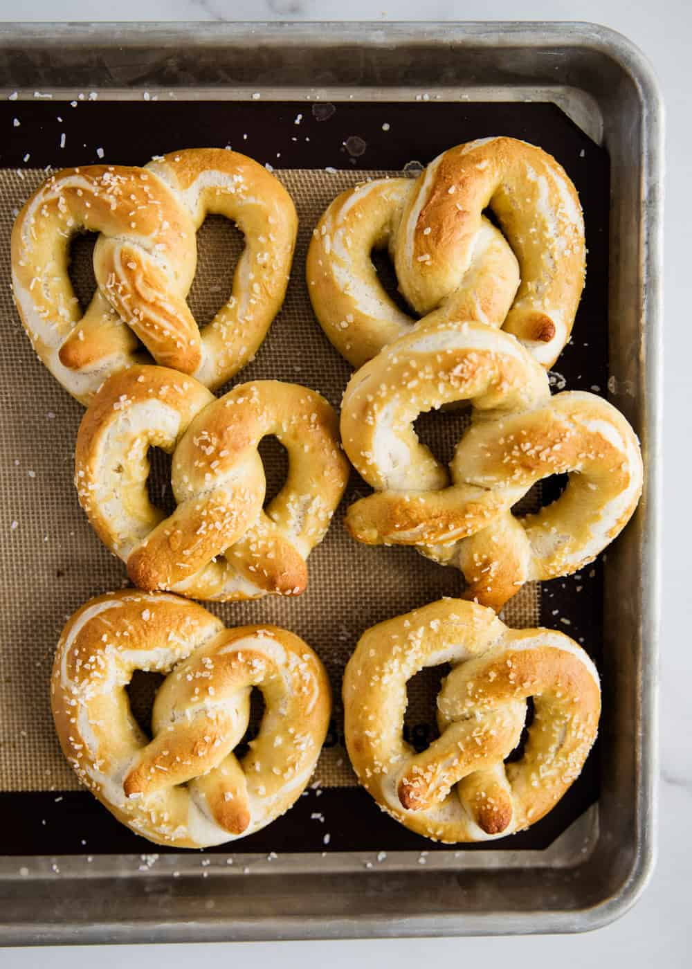 pretzels on pan