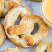 soft pretzels with cheese sauce