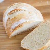 sliced artisan bread on cutting board