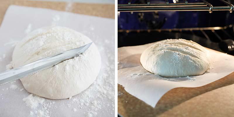 baking bread on a pizza peel