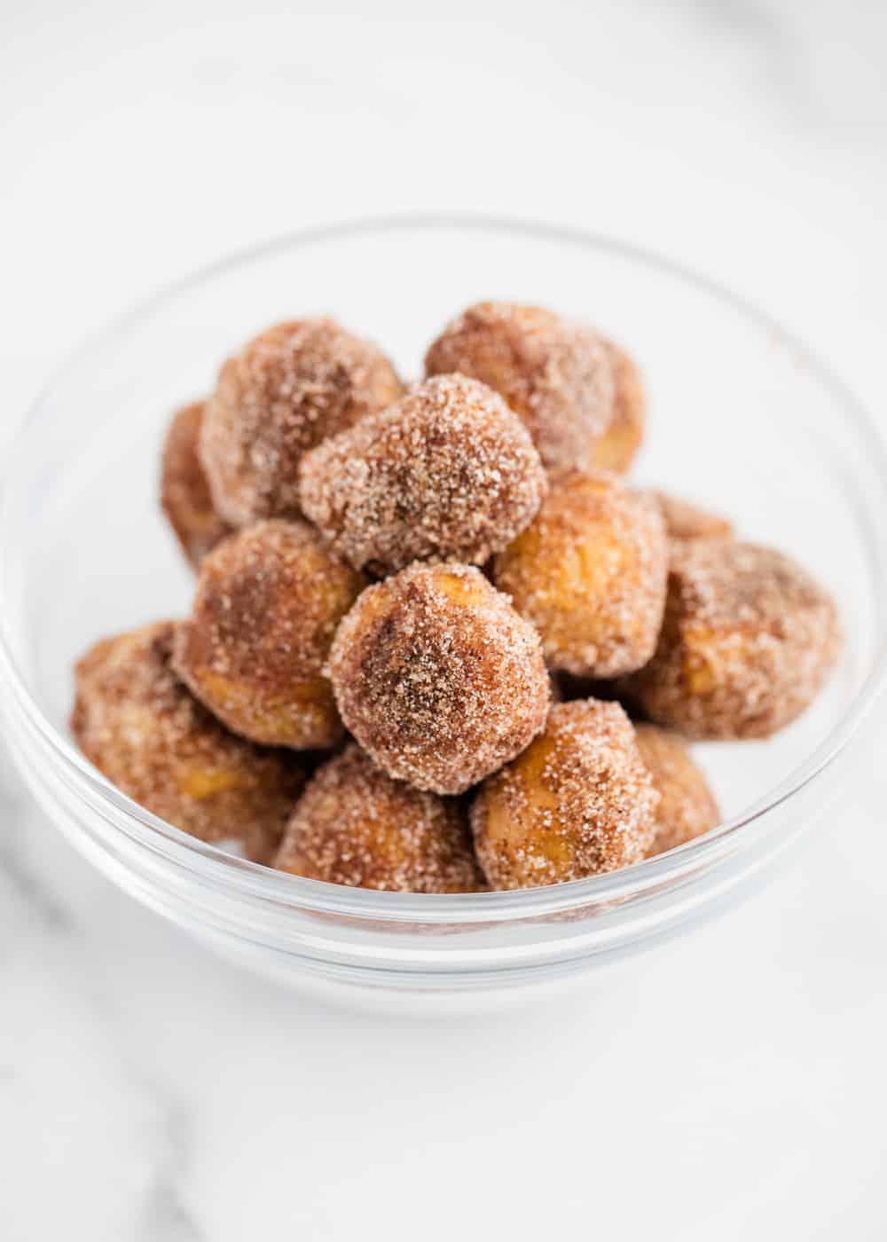 cinnamon sugar pretzel bites in bowl