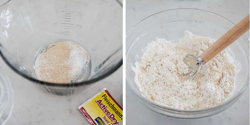whisking together flour and yeast