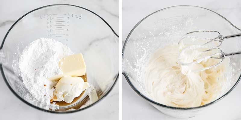 mixing frosting in glass bowl