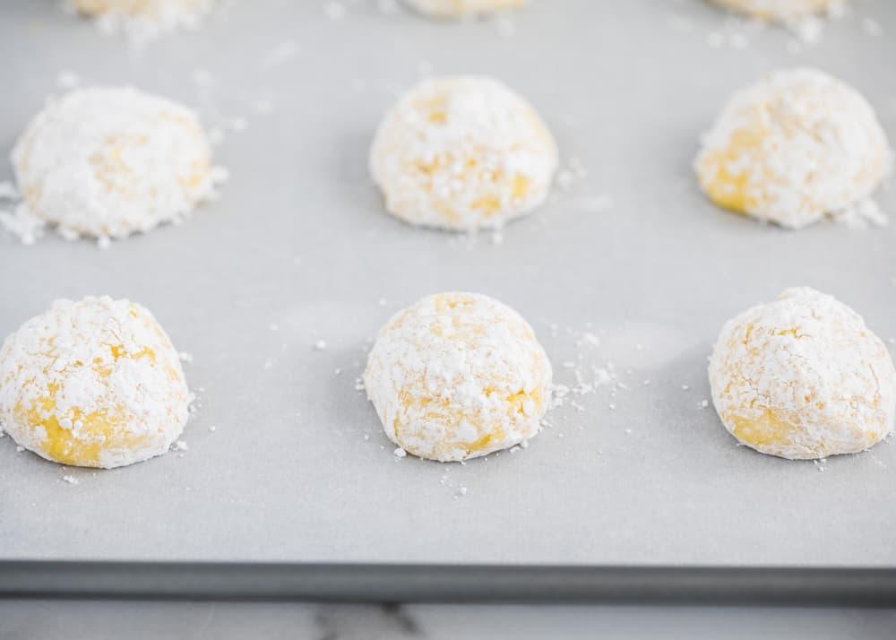 lemon cake mix cookies ready to bake on pan