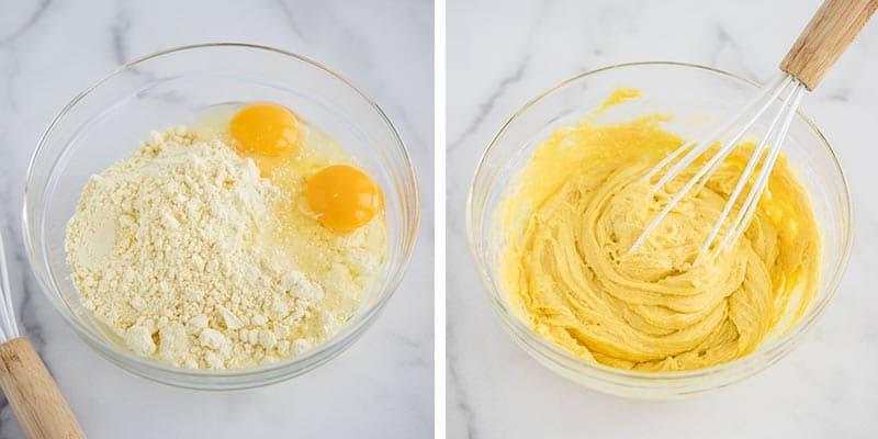 lemon cake mix cookies mixing in bowl