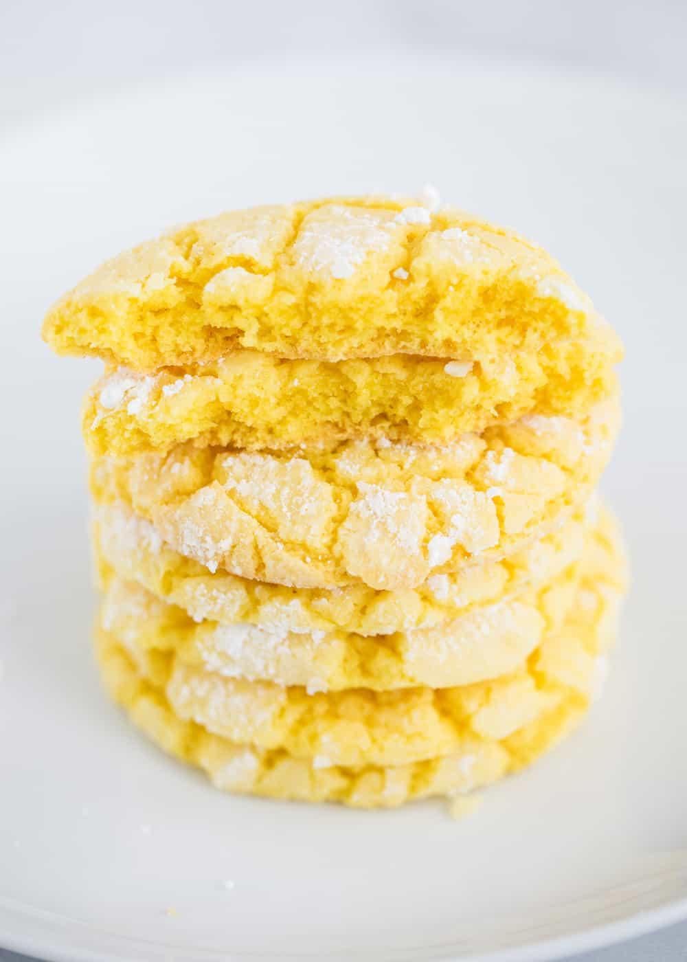 stacked lemon cake mix cookies