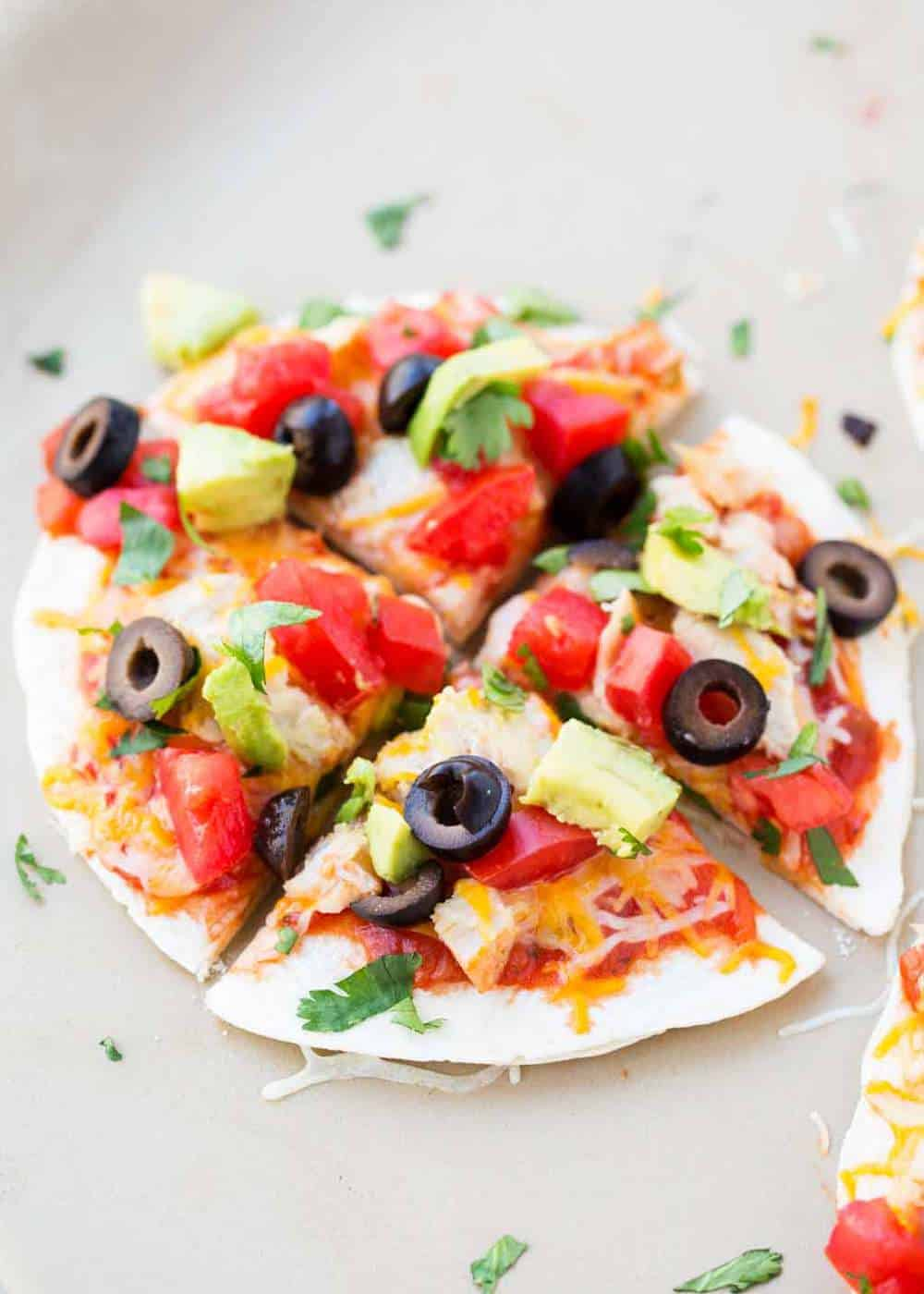 sliced mexican pizza with toppings