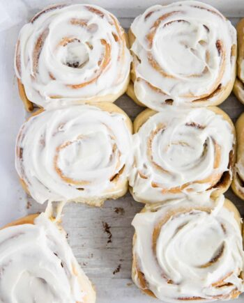 overnight cinnamon rolls on parchment paper