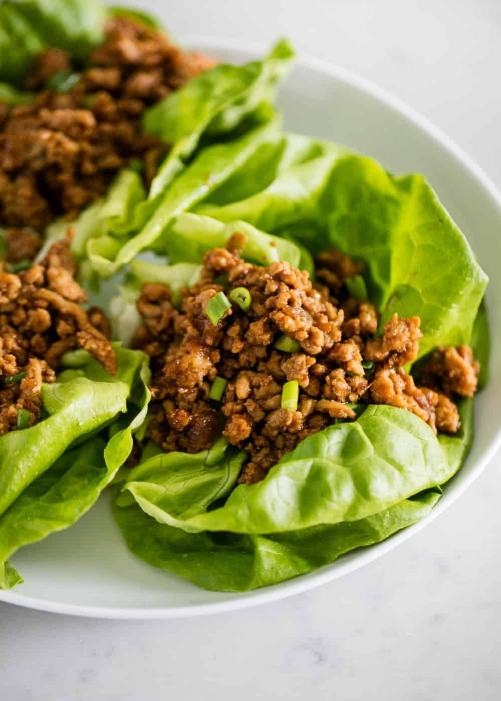 PF Changs lettuce wraps on white plate