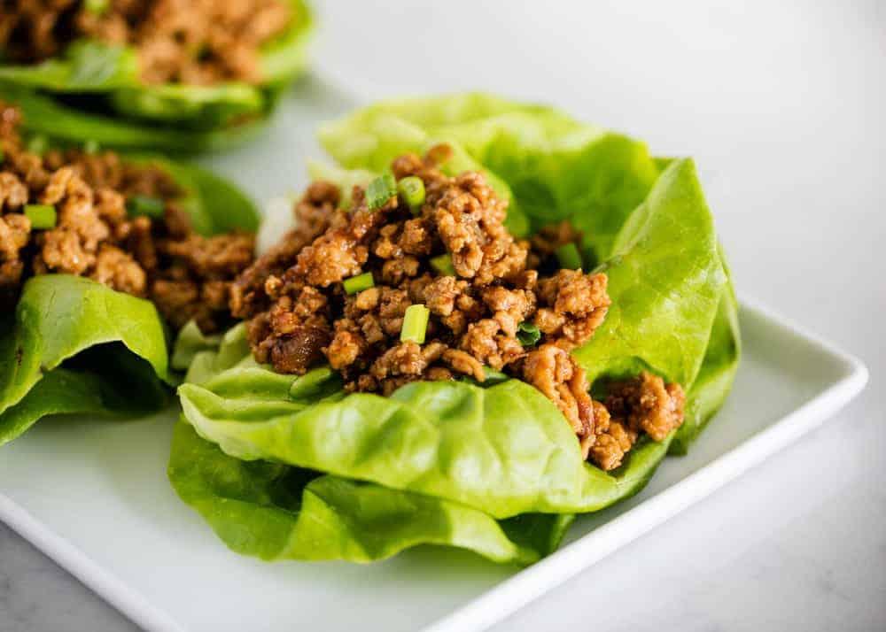 PF Changs lettuce wrap on white plate