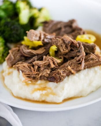 Mississippi pot roast on white plate