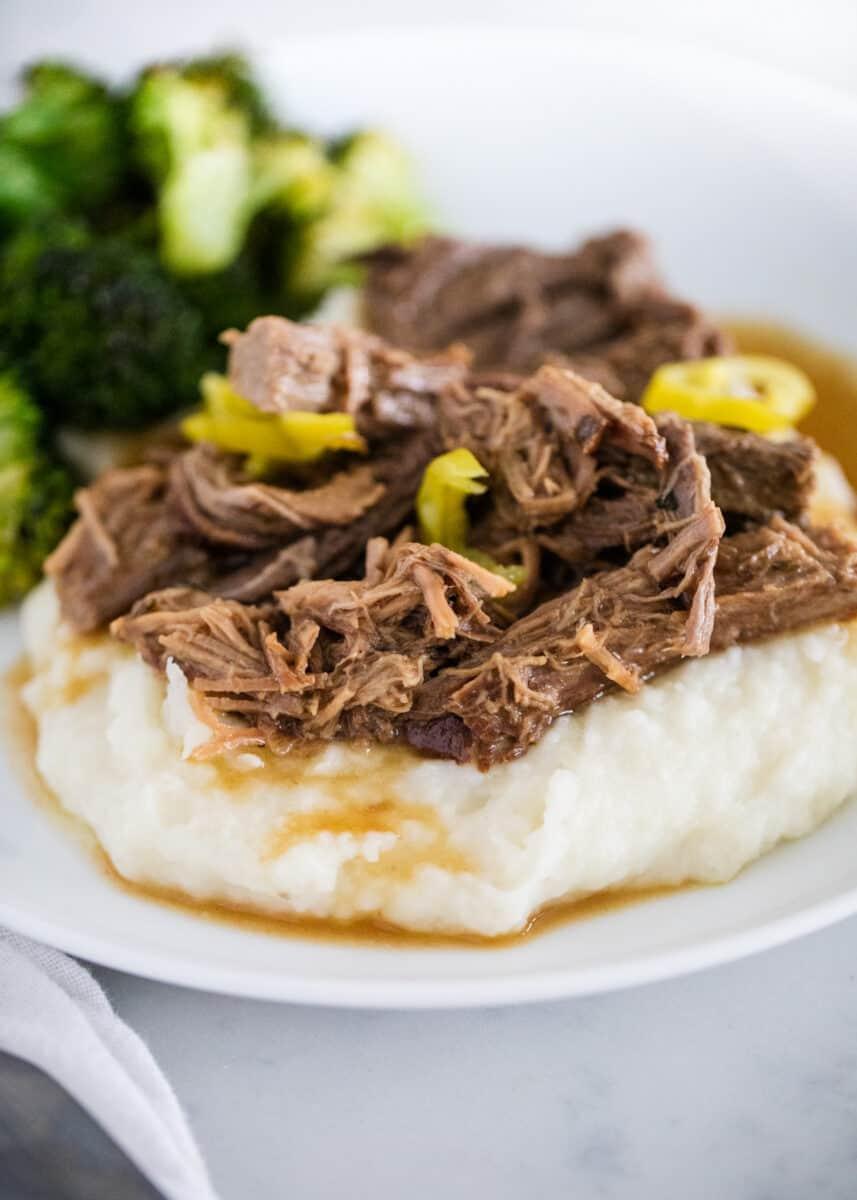 Mississippi pot roast on white plate