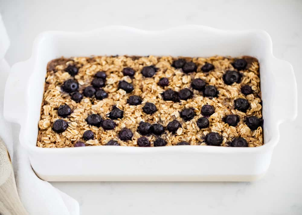 baked oatmeal in white pan