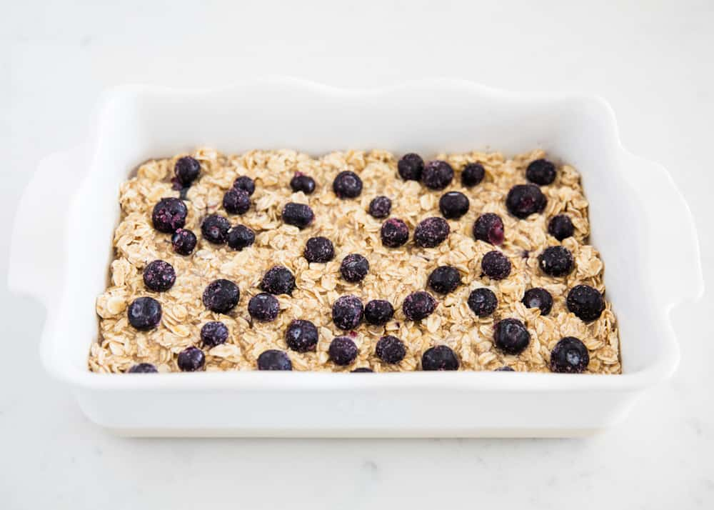 blueberry oatmeal in pan