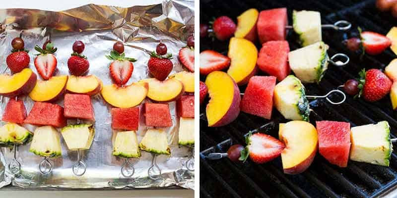 cooking fruit kabobs on the grill