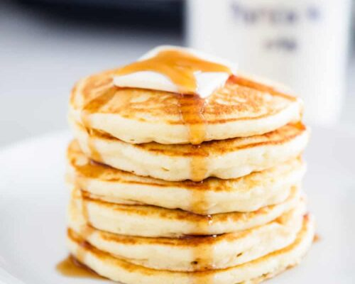 pancakes on white plate