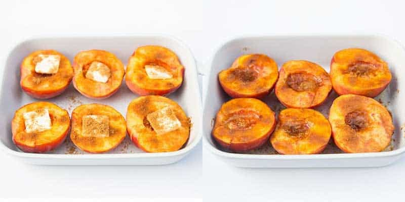 cinnamon sugar baked peach halves in baking dish