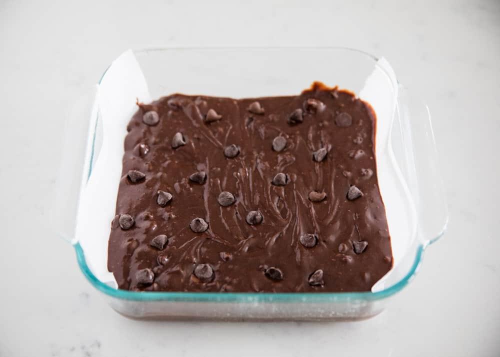 brownie batter in pan