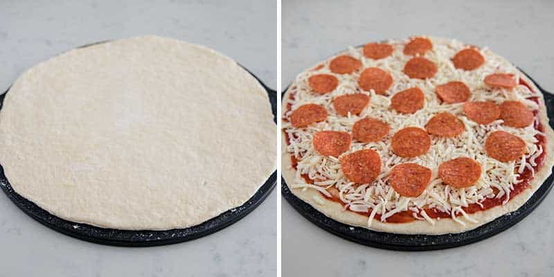 putting toppings on pizza dough