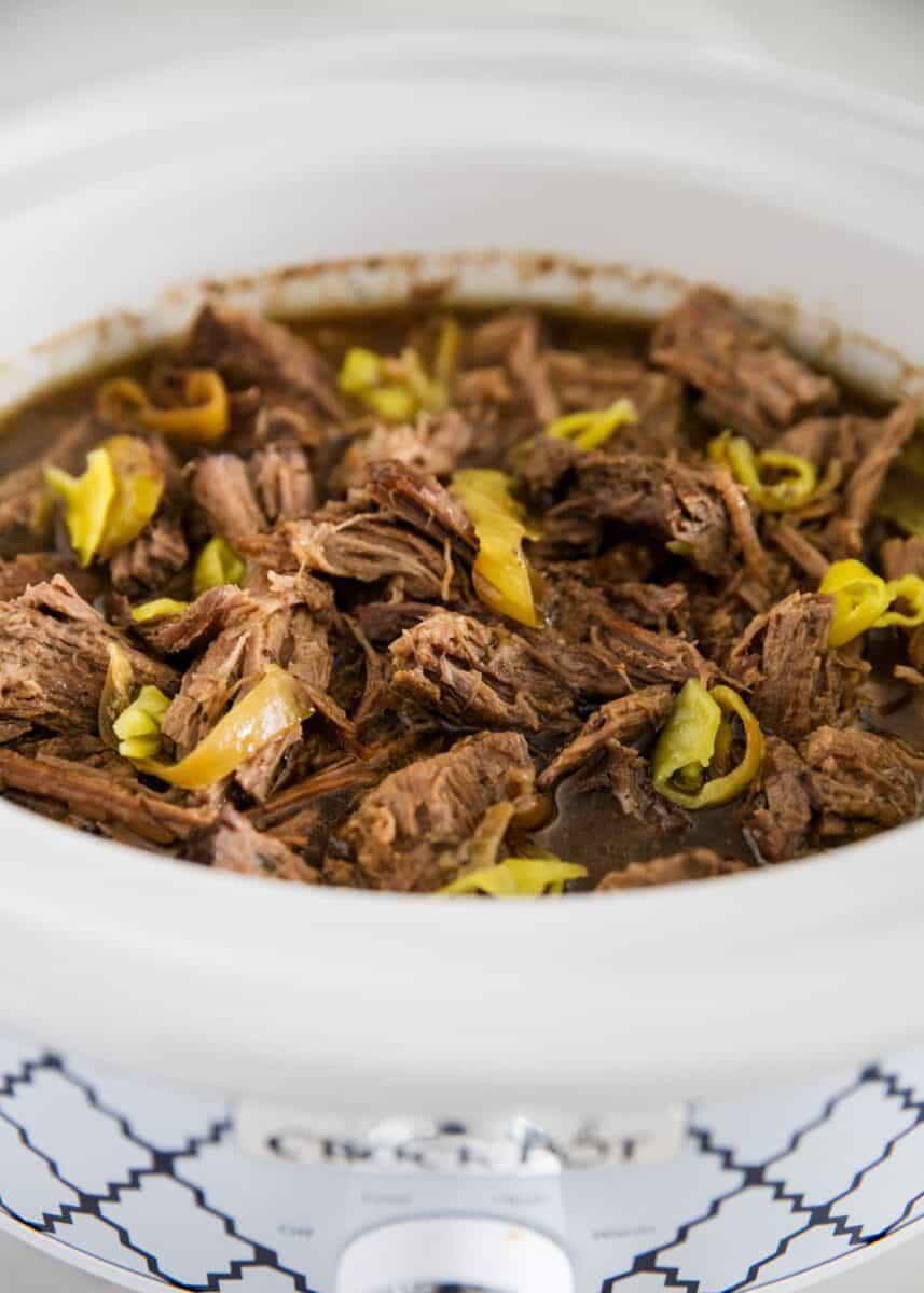 shredded pot roast in crock pot