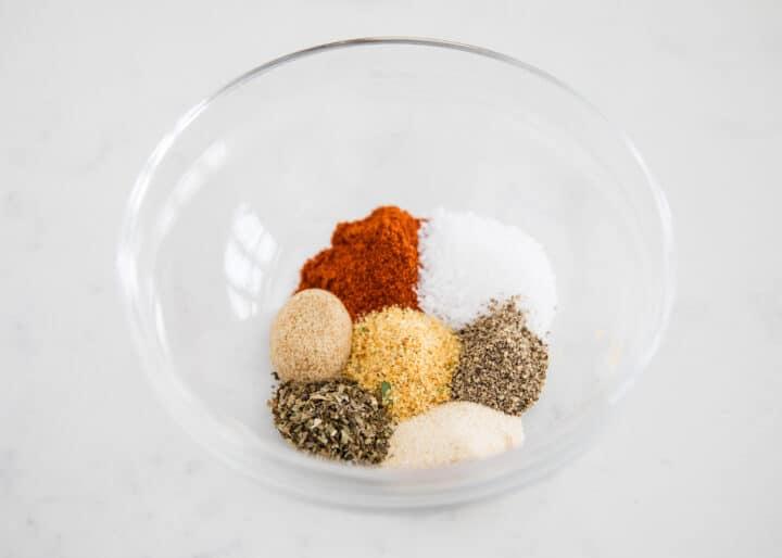 seasonings in a glass bowl