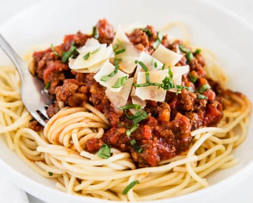 spaghetti sauce and noodles on white plate