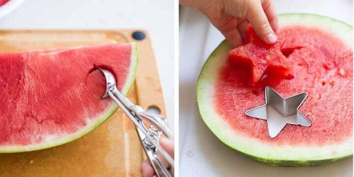 cutting watermelon into stars