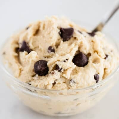 edible cookie dough in a glass bowl