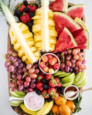 fruit platter on wooden board