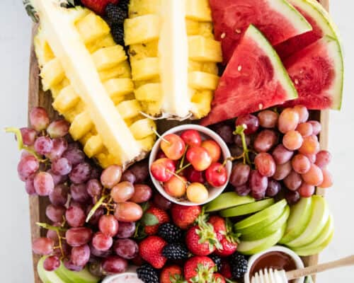 fruit platter on wooden board