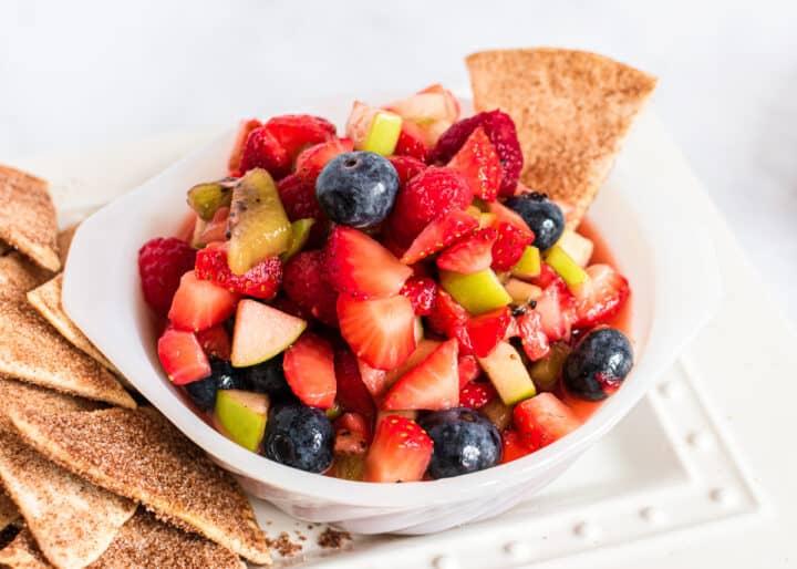 fruit salsa in white bowl