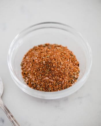hamburger seasoning in a glass bowl