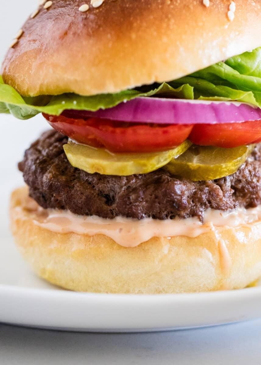 burger sauce on hamburger