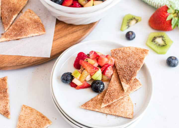 cinnamon chips on plate with fruit