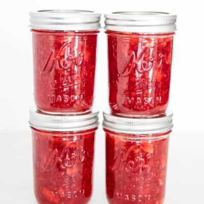 stacked jar of strawberry jam