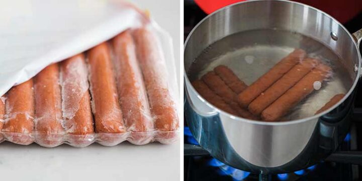 boiling frozen hot dog in water