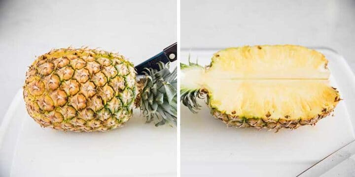 cutting a pineapple in half
