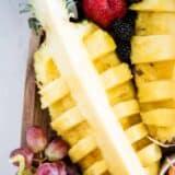 cut pineapple on fruit platter