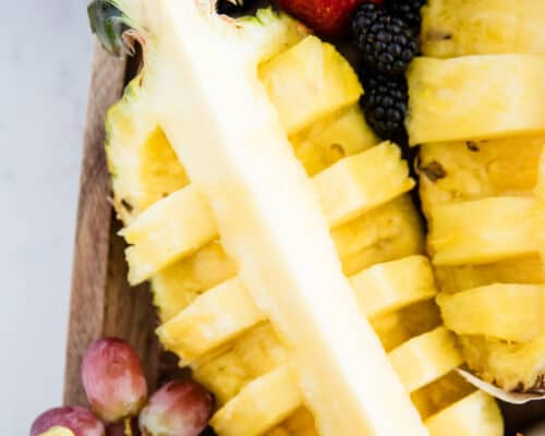cut pineapple on fruit platter