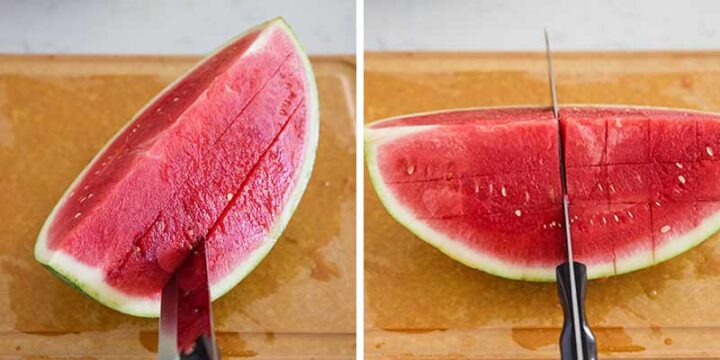 cutting the watermelon into cubes