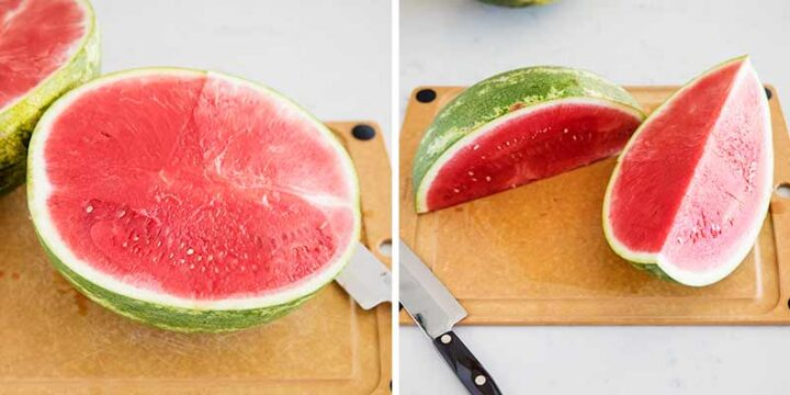 cutting a watermelon in half