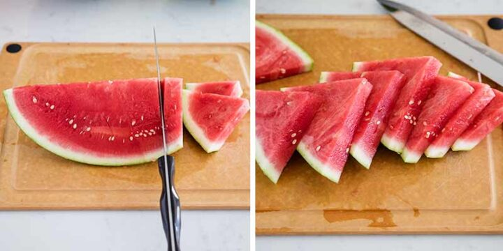 cutting watermelon slices