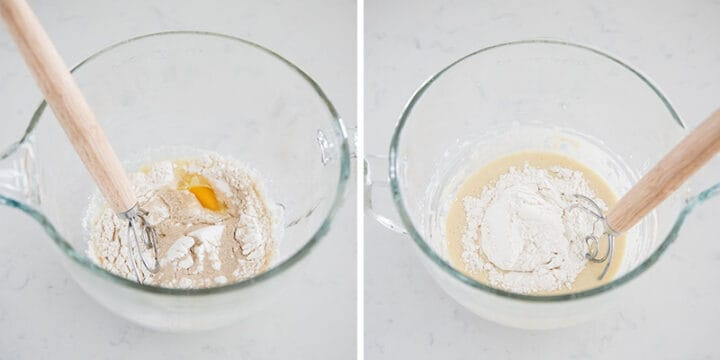 whisking flour in bowl