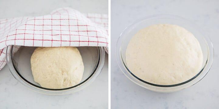dough rising in bowl