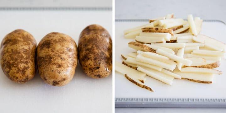 cutting potatoes on cutting board